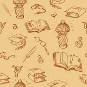 Books library seamless pattern Reading background -- hand drawn doodle pattern