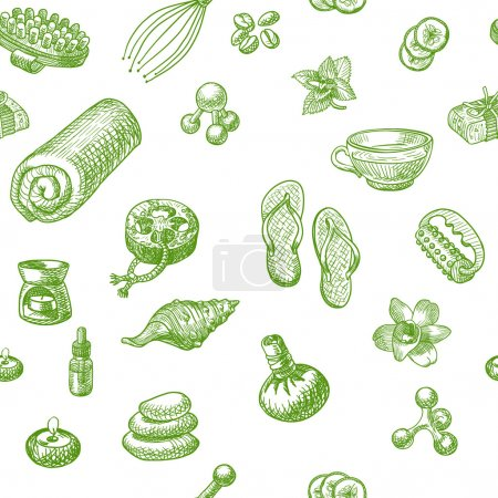 SPA and massage doodle hand drawn pattern. Seamless wellness vector background
