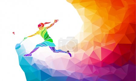 Badminton sport invitation poster or flyer background with empty space, banner template in trendy abstract colorful polygon style. Vector rainbow back