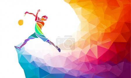 Badminton sport invitation poster or flyer background with empty space, banner template in trendy abstract colorful polygon style with rainbow back