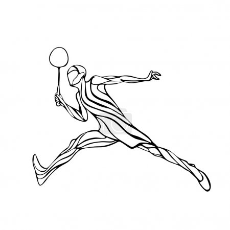 Silhouette of abstract badminton player doing smash shot.