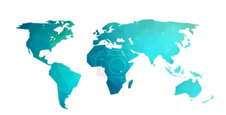 Illustration for World map blue vector illustration in polygonal style on white background - Royalty Free Image
