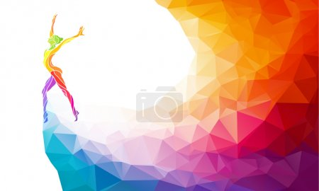 Creative silhouette of gymnastic girl. Fitness vector illustration or banner template in trendy abstract colorful polygon style with rainbow back