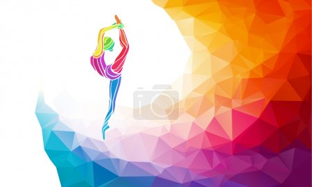Illustration for Creative silhouette of gymnastic girl. Art gymnastics, colorful vector illustration with background or banner template in trendy abstract colorful polygon style and rainbow back - Royalty Free Image