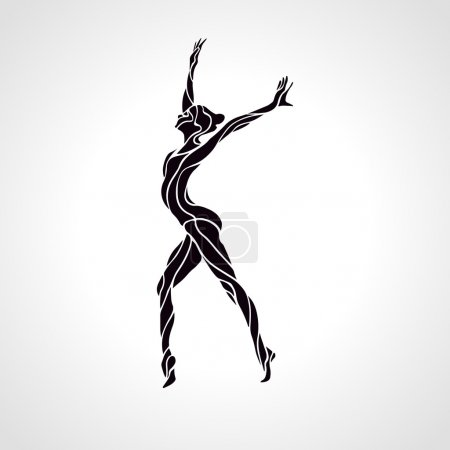 Illustration for Creative silhouette of gymnastic girl. Art gymnastics, black and white vector illustration - Royalty Free Image