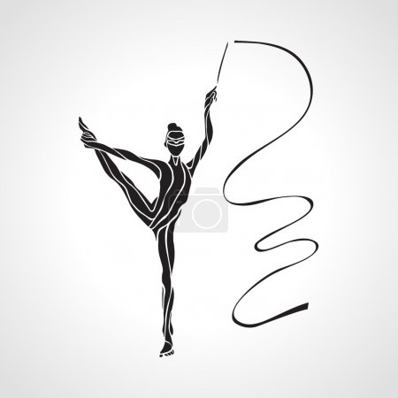 Creative silhouette of gymnastic girl. Art gymnastics with ribbon, vector illustration
