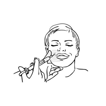 Botox injections. Huge duck lips. Vector outline