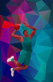 Polygonal geometric professional basketball player on colorful low poly background doing jump shot with space for flyer poster web leaflet magazine Vector illustration