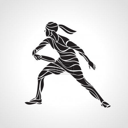 Female player is playing Ultimate Frisbee, vector silhouette