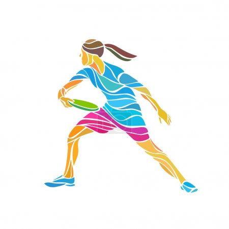 Female player is playing Ultimate Frisbee, vector illustration