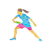 Female player is playing Ultimate Frisbee vector illustration