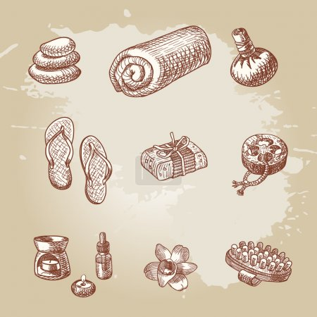 Illustration for Beautiful hand drawn spa and thai massage element set - Royalty Free Image