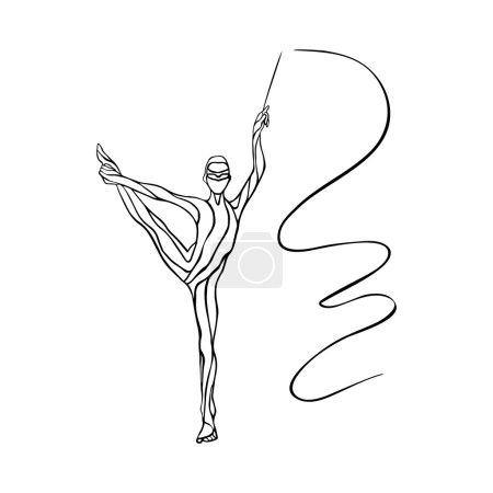 Art gymnastics with ribbon, vector illustration
