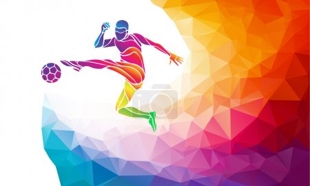Illustration for Creative soccer player. Football player kicks the ball, colorful vector illustration with background or banner template in trendy abstract colorful polygon style and rainbow back - Royalty Free Image