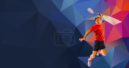 Polygonal professional badminton player on colorful low poly background doing smash shot with space for flyer, poster, web, leaflet, magazine. Vector illustration