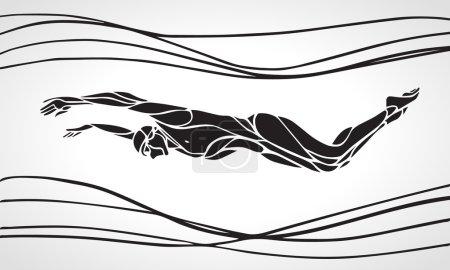 Butterfly Swimmer Silhouette. Sport swimming