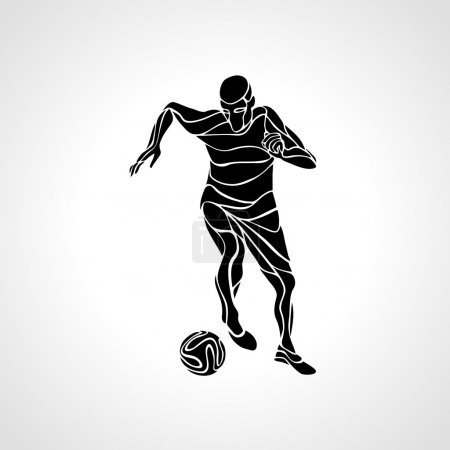 Soccer player kicks the ball. Black silhouette illustration on white background.