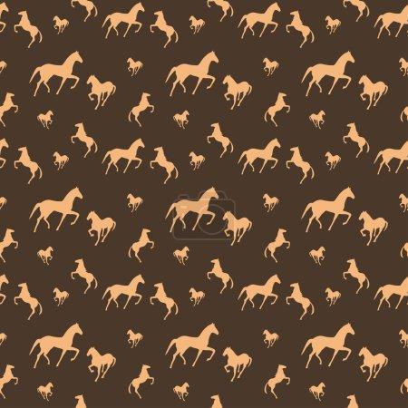 Illustration pour Chevaux marron motif sans couture - image libre de droit