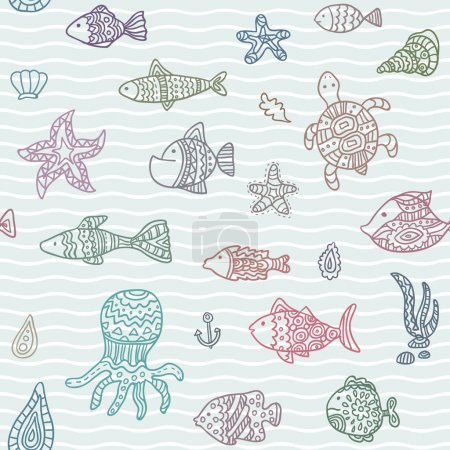 Seamless vector pattern with ocean creatures
