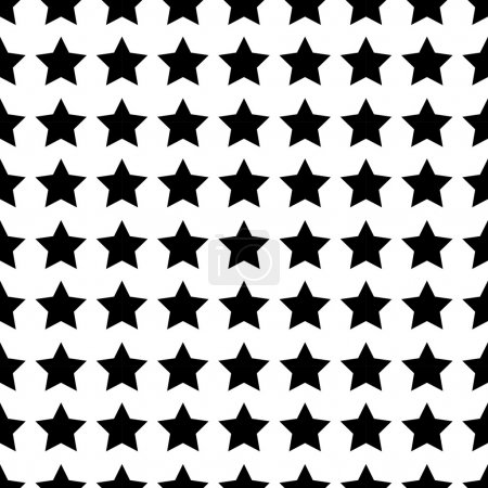 Illustration pour Modèle abstrait sans couture noir et blanc avec étoiles - image libre de droit