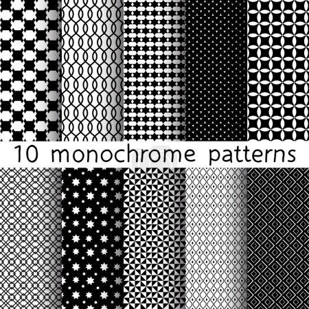 Photo pour 10 Monochrome différents motifs vectoriels sans couture. Ensemble d'ornements géométriques en noir et blanc. Texture sans fin peut être utilisé pour le papier peint, remplissage de motifs, fond de page Web, textures de surface . - image libre de droit