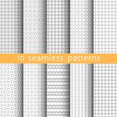 10 Light grey seamless patterns for universal background Grey and white colors Endless texture can be used for wallpaper pattern fill web page background Vector illustration for web design