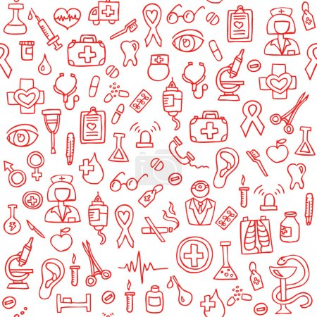 Illustration for Hand drawn medical seamless pattern. Vector Illustration - Royalty Free Image