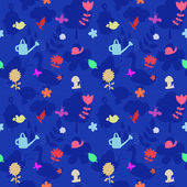 Vector seamless pattern with gardening tools and flowers