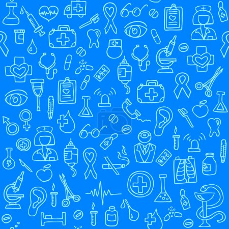 Hand drawn medical seamless pattern. Vector Illustration