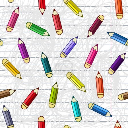 Background with pencils. Vector seamless pattern.