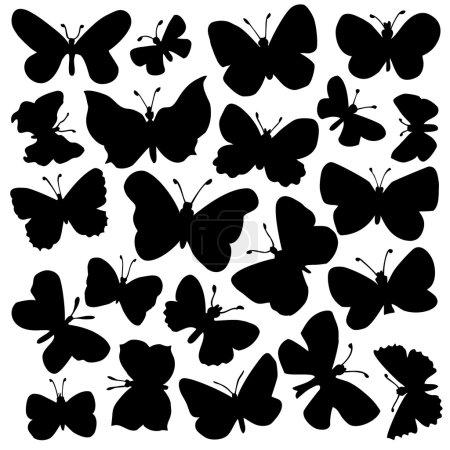 Illustration pour Ensemble vectoriel de papillons - image libre de droit
