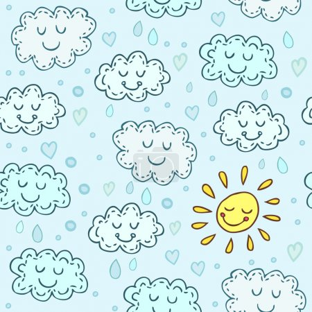Illustration for Blue seamless pattern with cute clouds and sun. Childrens shiny background. Endless texture can be used for wallpaper, pattern fills, web page background, surface texture. - Royalty Free Image