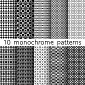 10 monochrome seamless patterns for universal background Black and white colors Endless texture can be used for wallpaper pattern fill web page background Vector illustration for web design