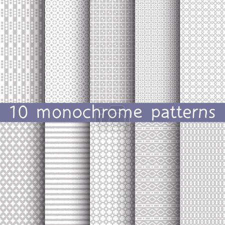 10 monochrome seamless patterns for universal background. Gray and white colors. Endless texture can be used for wallpaper, pattern fill, web page background. Vector illustration for web design.