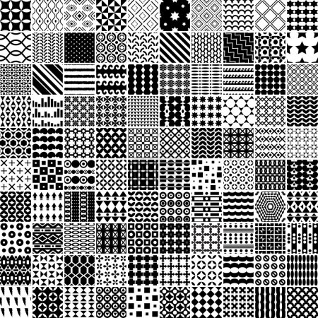 Illustration for 100 monochrome pattern. Vector seamless pattern. Endless texture can be used for printing onto fabric, paper or scrap booking, wallpaper, pattern fills, web page - Royalty Free Image