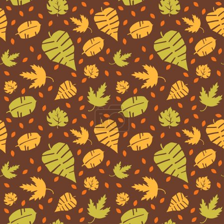 Seamless background with colorful autumn leaves. Vector illustration.