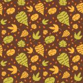 Seamless background with colorful autumn leaves Vector illustration
