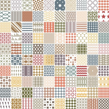 Illustration for 100 retro pattern. Vector pattern. Endless texture can be used for printing onto fabric, paper or scrap booking, wallpaper, pattern fills, web page background, surface texture. - Royalty Free Image