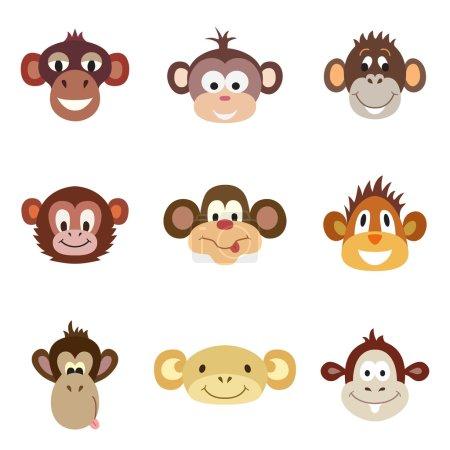 Set of funny cute monkey. Animal Portrait. Vector illustration