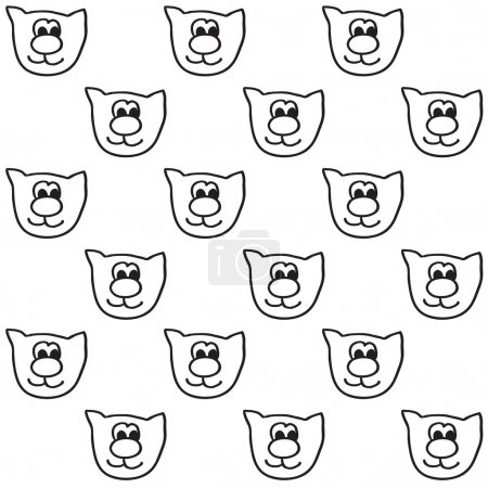 Cat faces seamless pattern. Funny vector background with doodle children design.