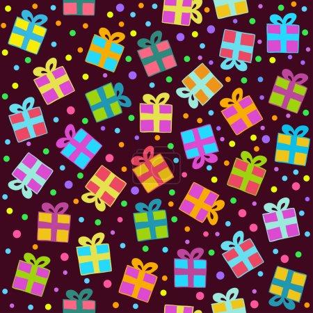 Illustration pour Modèle vectoriel sans couture avec des cadeaux sur un fond sombre. Texture peut être utilisé pour le papier peint, remplissage de motifs, page Web, fond . - image libre de droit