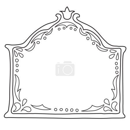 Vintage decorative frame. Vector illustration. Sketch of hand drawing frame. Beautiful vector design.