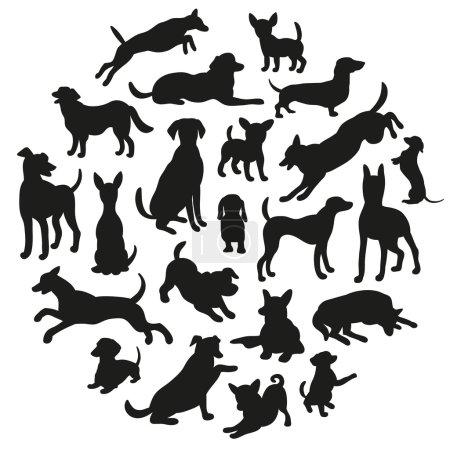 Illustration pour Ensemble de silhouette de chiens. Collection de silhouette vectorielle en cercle. Belle conception vectorielle . - image libre de droit