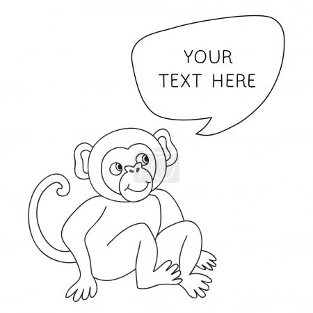Vector Funny Monkey With Speech Bubble. Illustration card with hand drawn monkey and bubble speech. You can put your own text on speech bubble or sign board.