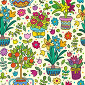 Seamless pattern doodle plants in pots floral background