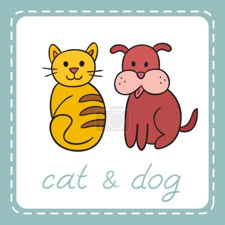 Pets animals dog and cat (puppy and kitten).