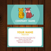 Business card with cat and dog for veterinary clinics or pet-sho