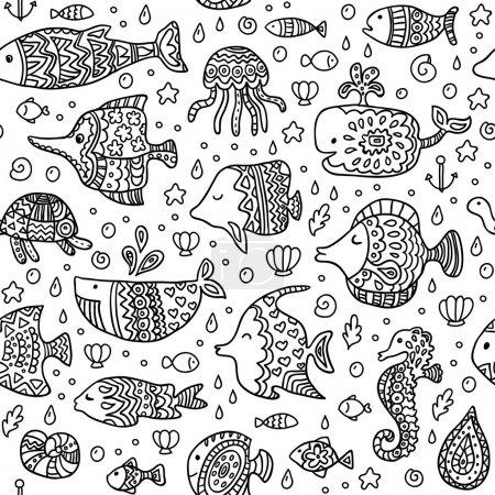 Seamless pattern with sea creatures.