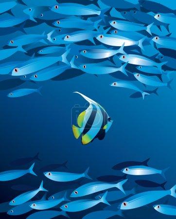 Illustration pour Illustration vectorielle du haut-fond de poissons en profondeur d'eau - image libre de droit