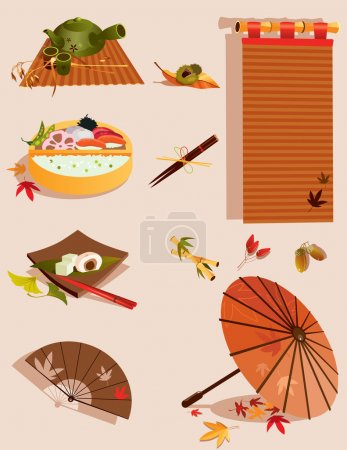 Illustration for Vector illustration of set of objects related to Japanese traditional kitchen - Royalty Free Image